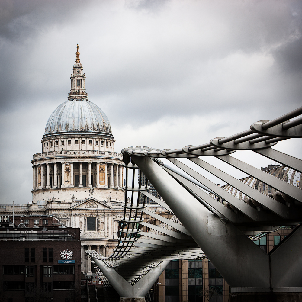 St.Paul's Cathedral, London with Millennium-Bridge